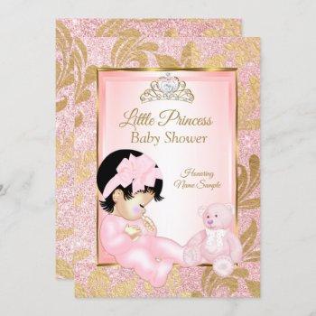 Pink Glitter Gold Baby Shower Bear