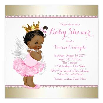 Pink Gold Angel Baby Girl Shower Invitation