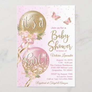 Pink Gold Balloons Butterfly Baby Shower Invitation