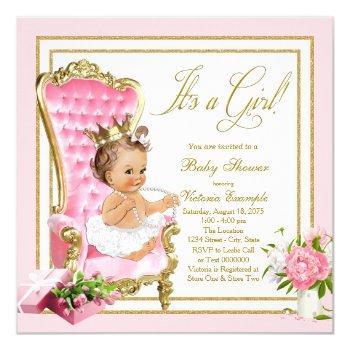 Pink Gold Chair Princess Pearl Tutu Baby Shower Invitation