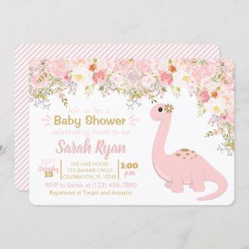 Pink & Gold Dinosaur Floral Girl Baby Shower Invitation