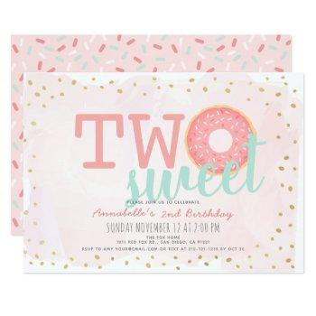 Pink & Gold Donut Two Sweet Girl 2nd Birthday Invitation