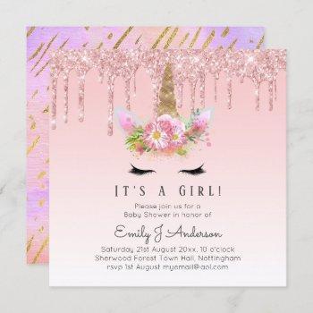 Pink Gold Drip Glitter Unicorn Baby Girl Shower