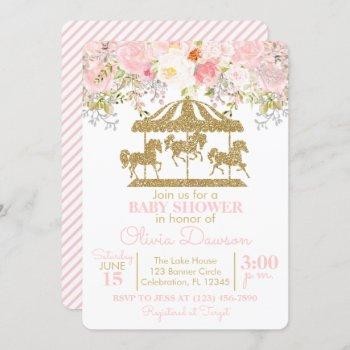 Pink & Gold Floral Carousel Girl Baby Shower Invitation