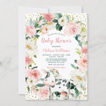 Pink Gold Floral Cow Girl Baby Shower