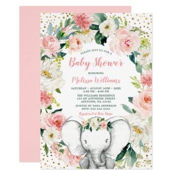 Pink Gold Floral Elephant Girl Baby Shower Invitation