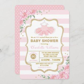 Pink Gold Floral Tutu Ballerina Girl Baby Shower Invitation