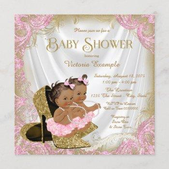 Pink Gold Glitter Shoe Twin Girl Baby Shower Invitation