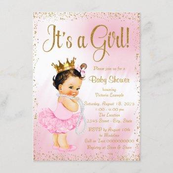 Pink Gold Little Ballerina Tutu Pearl Baby Shower