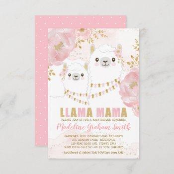 Pink Gold Llama Girl Baby Shower Blush Floral Invitation