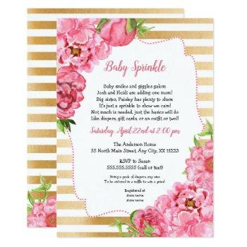 Pink Gold Peonies Baby Sprinkle Invitations