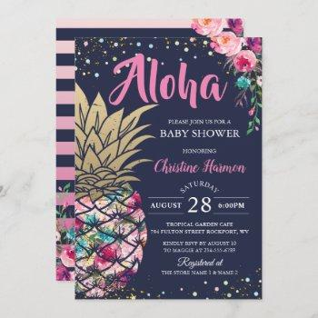 Pink Gold Pineapple Floral Navy Blue Baby Shower Invitation