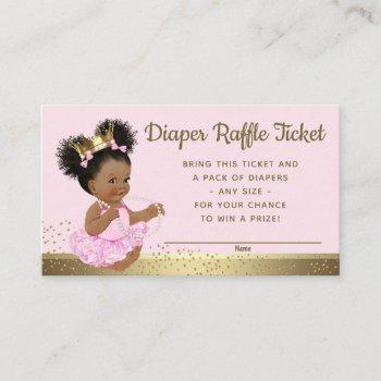 Pink Gold Princess Diaper Raffle Tickets Enclosure Card