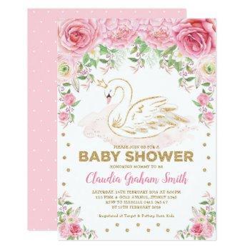 Pink Gold Swan Princess Girl Baby Shower Invitation