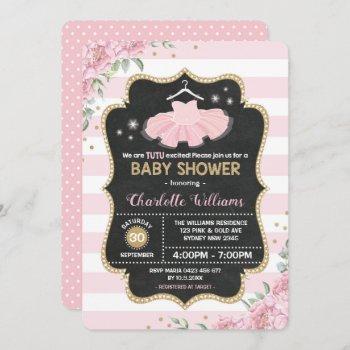 Pink Gold Tutu Ballerina Baby Shower Invitation