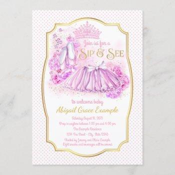 Pink Gold Tutu Princess Sip And See Invitations