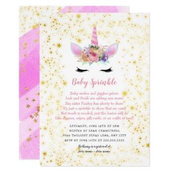 Pink Gold Unicorn Baby Sprinkle Invitation