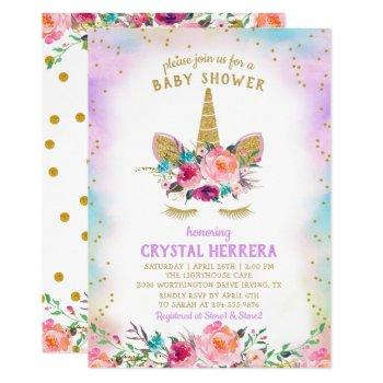 Pink & Gold Unicorn Beautiful Floral Baby Shower Invitation