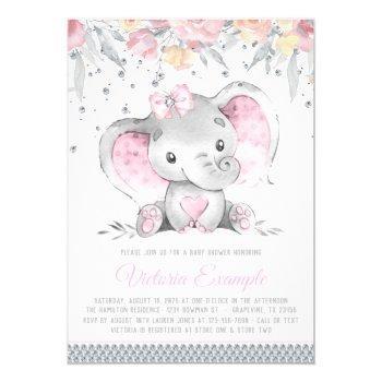 Pink Gray Elephant Floral Diamond Girl Baby Shower Invitation