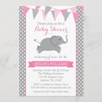 Pink Gray Elephant Polka Dot Bunting Baby Shower Invitation