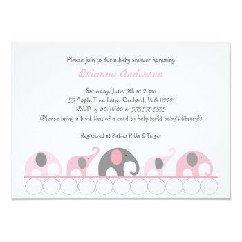 Pink & Gray Elephants On Books Baby Shower Invite