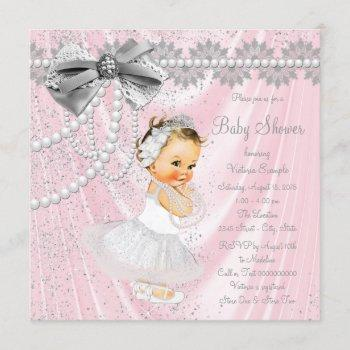 Pink Gray Satin Pearl Little Lady Baby Shower Invitation