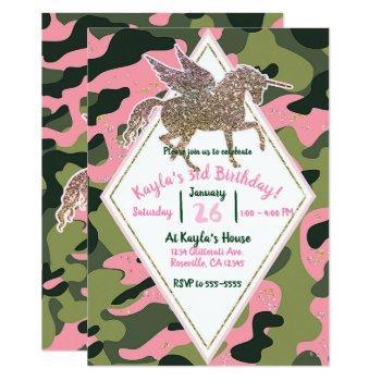 Pink Green Camo Camouflage & Gold Unicorn Party Invitation