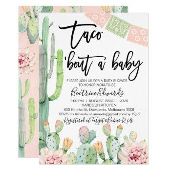 Pink Green Taco Bout A Baby Baby Shower Invitation