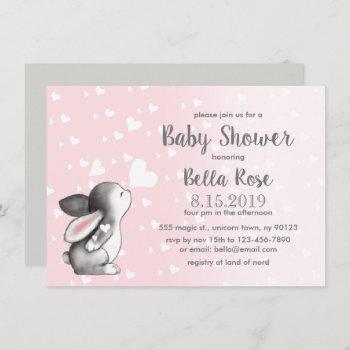 Pink Grey Hearts Bunny Girl Baby Shower