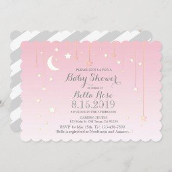 Pink Grey Moon Stars Girl Baby Shower Invite