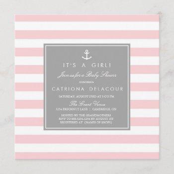 Pink Grey Nautical Stripes Baby Shower