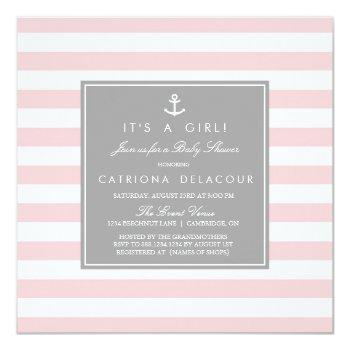 Pink Grey Nautical Stripes Baby Shower Invitation