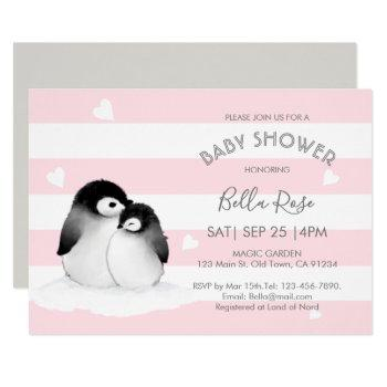 Pink Grey Penguin Baby Shower Invitations