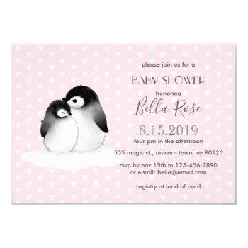 Pink Grey Penguins Hearts Baby Shower Invitation