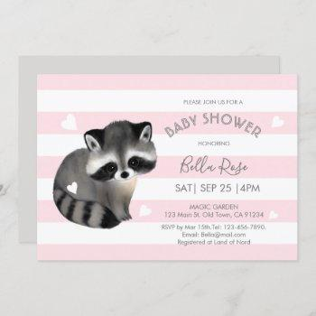 Pink Grey Stripes Raccoon Heart Baby Shower Invite
