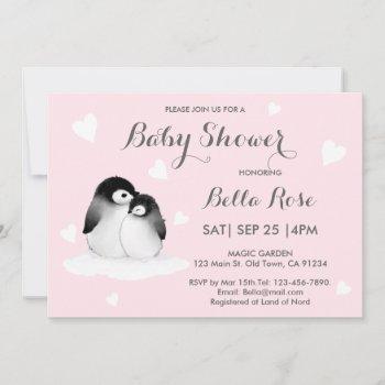 Pink Heart Penguin Baby Shower Invitations