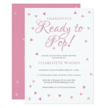 Pink Hearts Ready To Pop Baby Shower Invitation