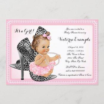 Pink High Heel Shoe Tutu Pearl Baby Shower