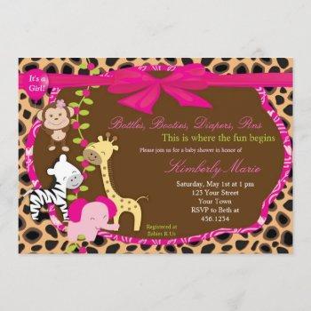 Pink Jungle Baby Shower Invitation