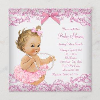 Pink Lace Tutu Girl Baby Shower Invitation
