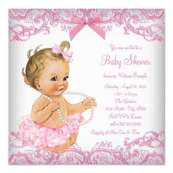Pink Lace Tutu Girl Baby Shower Invitation