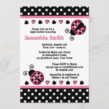 Pink Ladybug Baby Shower Black & White Polka Dots Invitation