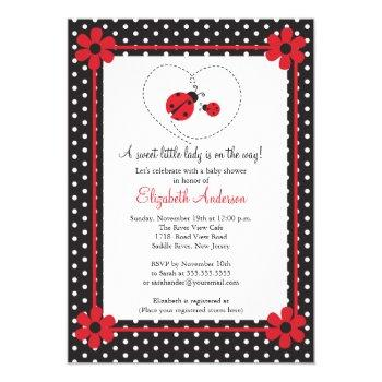 Pink Ladybug Baby Shower Invitation