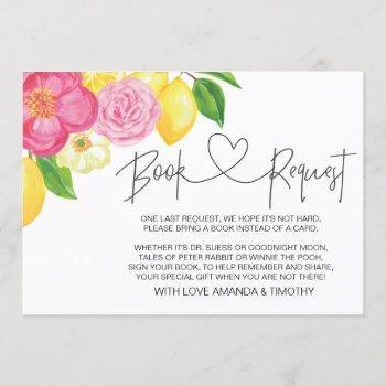 Pink Lemon Floral Baby Shower Book Request