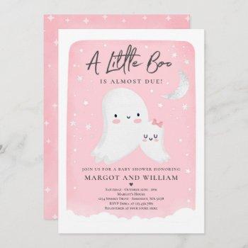 Pink Little Boo Shower Halloween Ghost Baby Shower Invitation