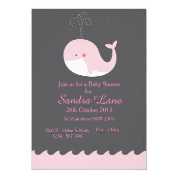 Pink Nautical Whale Baby Shower Invitation
