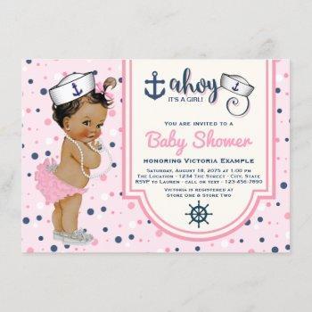 Pink Navy Blue Ethnic Girl Nautical Baby Shower