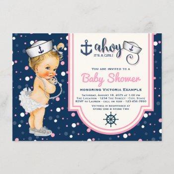 Pink Navy Blue Girl Nautical Baby Shower