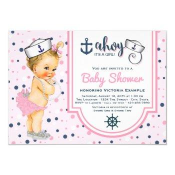 Pink Navy Blue Nautical Baby Shower Invitation