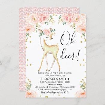 Pink Oh Deer Floral Baby Shower Invitation